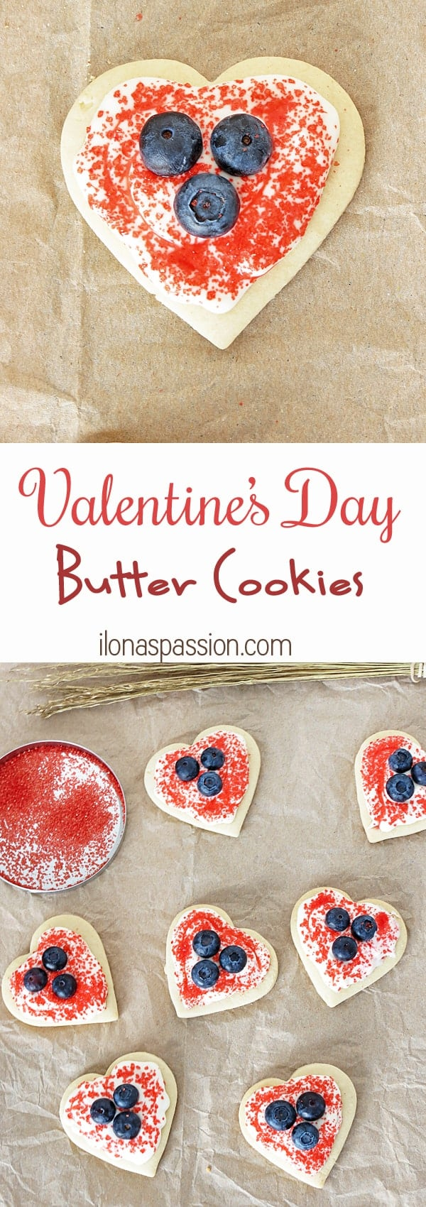Valentine's Day Butter Cookies with cream cheese frosting as Gift Idea by ilonaspassion.com