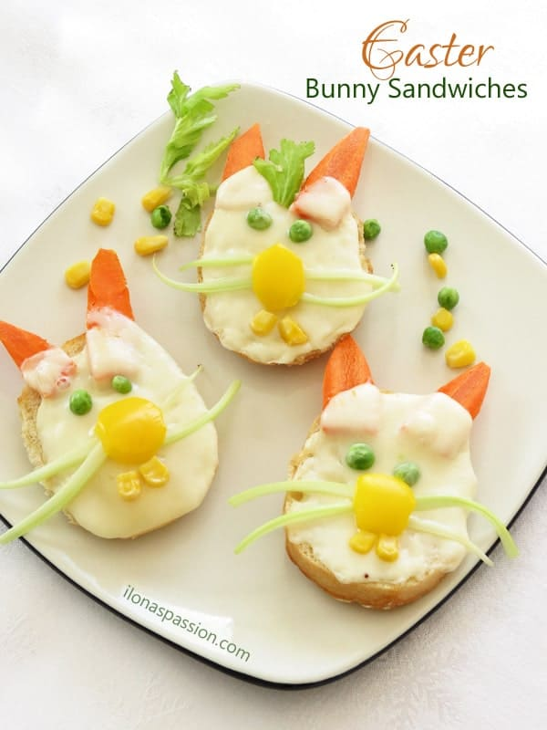 Easter Bunny Sandwiches - Simple, easy and very cute Easter Bunny Sandwiches made with small bagels or french baguette cheese and vegetables. Very adorable recipe and great for a Party! by ilonaspassion.com I @ilonaspassion