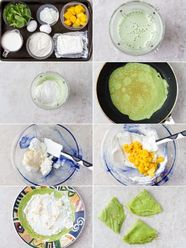 Step by step on how to make french crepes with mango, farmer's cheese and sugar. Yummy dessert idea by ilonaspassion.com I @ilonaspassion