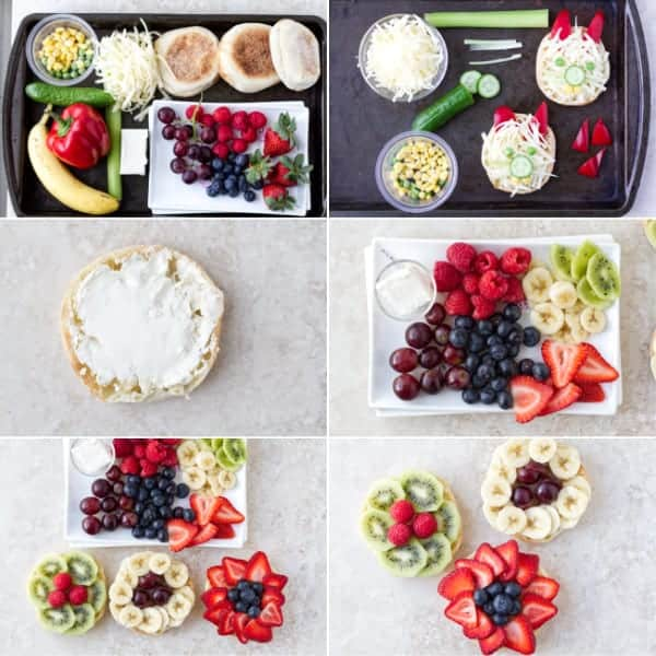 Step by step on how to make open faced afternoon tea sandwiches with fruits and veggies into rabbits and flowers by ilonaspassion.com I @ilonaspassion