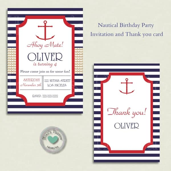 Nautical Birthday Party Printables contains beverage labels, cupcake toppers, wrappers, gift tags etc. Nautical theme in colors navy blue & red with anchor by ilonaspassion.com I @ilonaspassion