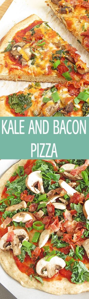 Kale and Bacon Pizza - a pizza made from scratch served with mushrooms, bacon and kale. Topped with cheese. Great party recipe or dinner idea! by ilonaspassion.com I @ilonaspassion