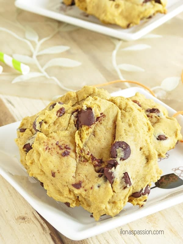 Soft Chocolate Chip Pumpkin Cookies - moist and soft pumpkin cookies packed with chocolate chips. Perfect pumpkin recipe for Fall! by ilonaspassion.com I @ilonaspassion