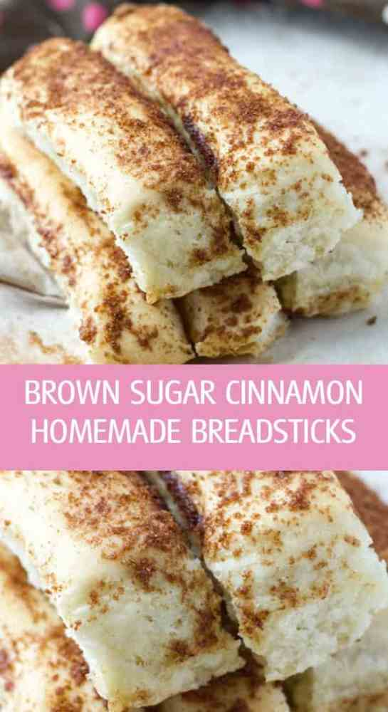 Soft brown sugar cinnamon homemade breadsticks recipe made with yeast by ilonaspassion.com I @ilonaspassion