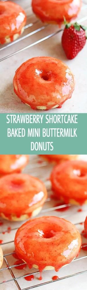 Strawberry Shortcake Baked Mini Buttermilk Donuts - An easy recipe for strawberry shortcake baked mini buttermilk donuts. These delicious glazed strawberry donuts are perfect for breakfast, Valentine's Day or Tea Party by ilonaspassion.com @ilonaspassion