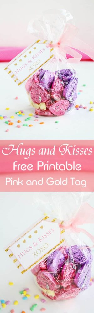 Hugs and Kisses free printable gift tag in color pink and gold for Valentine's Day. A beautiful way to say Thank you! by ilonaspassion.com I @ilonaspassion