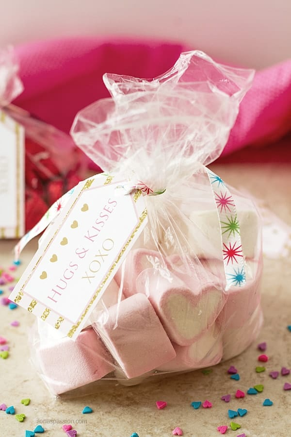 Free Valentine printables in pink and gold XOXO Hugs and Kisses in a bag with candies. Perfect gift idea by ilonaspassion.com I @ilonaspassion