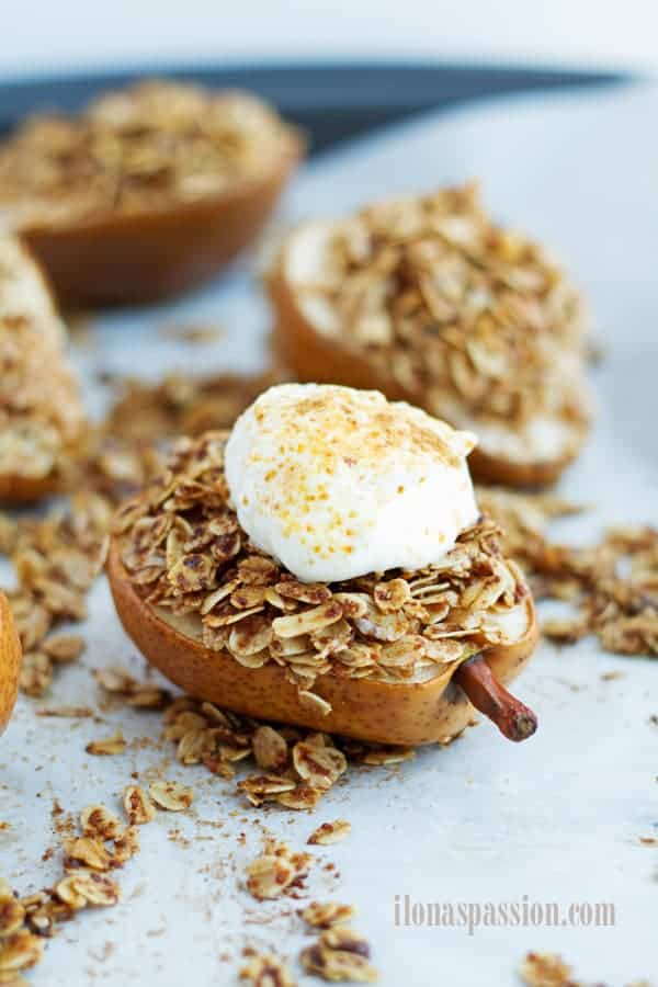 Roasted pears with coconut oil oats stuffing.