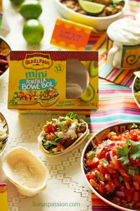 Mexican buffet menu ideas with recipes like barbacoa, lime cilantro rice, avocado dip, beans, tortilla bowls, corn and homemade salsa. Free Mexican printable table tents included! by ilonaspassion.com I @ilonaspassion #CreateYourBowl #ad