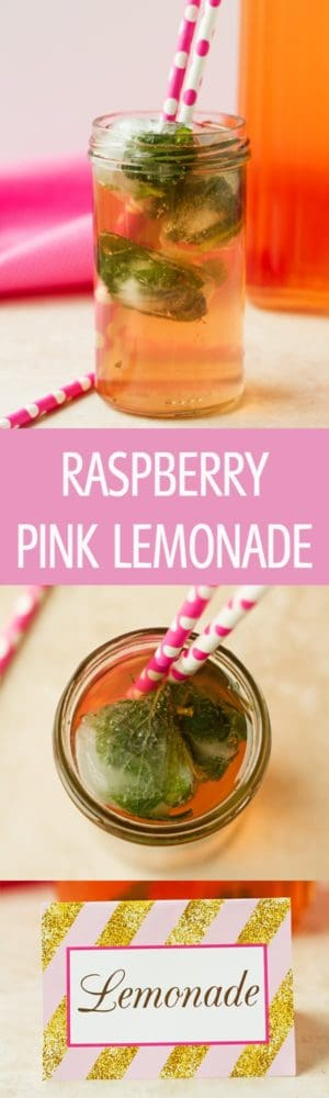 Raspberry Pink Lemonade - Raspberry pink lemonade recipe sweetened naturally with honey. Only 3 ingredients to make this refreshing drink. Perfect for pink and gold parties by ilonaspassion.com I @ilonaspassion