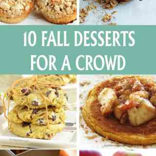 10 fall desserts for a crowd. Yummy autumn inspired recipes including soft pumpkin cookies, apple bars, pumpkin pancakes, crumb muffins, pumpkin bread and baked pear by ilonaspassion.com I @ilonaspassion