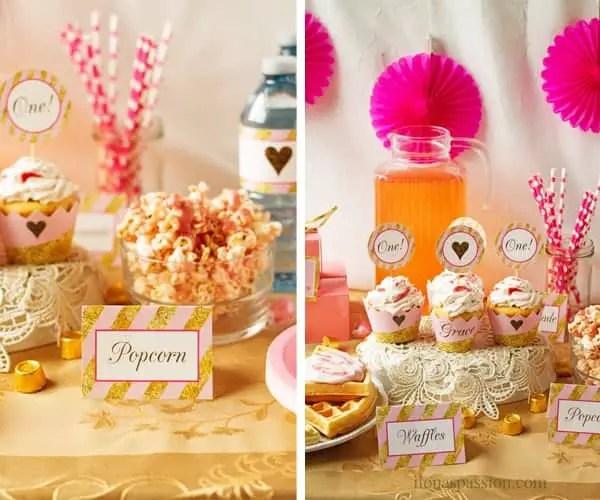 Straws, decor, printables as baby girl birthday decoration ideas.