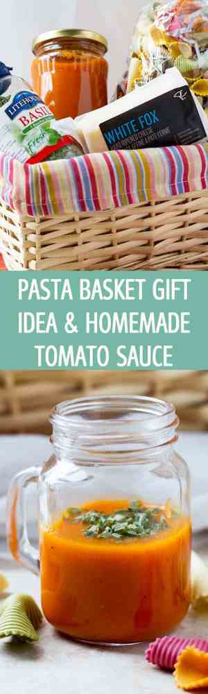 Basket gift idea with garlicky homemade tomato sauce, colorful pasta, dried basil and hard cheese. A beautiful edible present that anybody will love! by ilonaspassion.com I @ilonaspassion