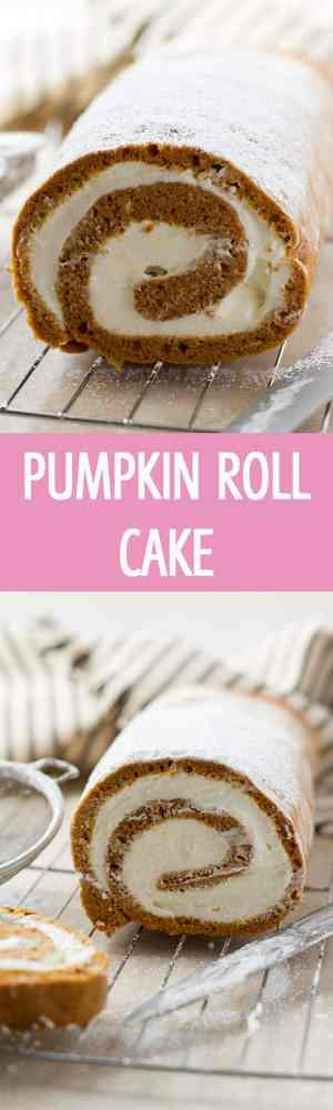 A very easy pumpkin roll cake recipe with whipped cream and mascarpone cheese. A great party dessert! by ilonaspassion.com I @ilonaspassion