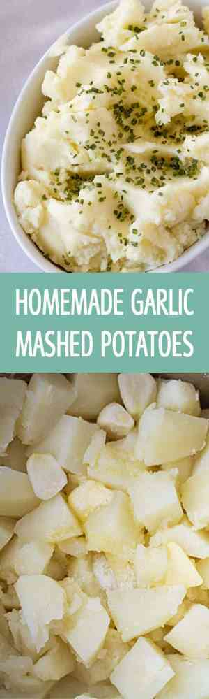 Homemade garlic mashed potatoes recipe made with few simple ingredients that you have in your kitchen. Creamy mashed potatoes perfect for a crowd by ilonaspassion.com I @ilonaspassion