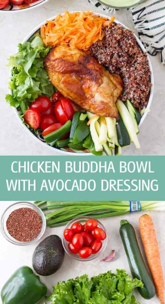 Chicken buddha bowl recipe with dairy free creamy avocado dressing. Served with nutritious veggies, quinoa and baked chicken by ilonaspassion.com I @ilonaspassion