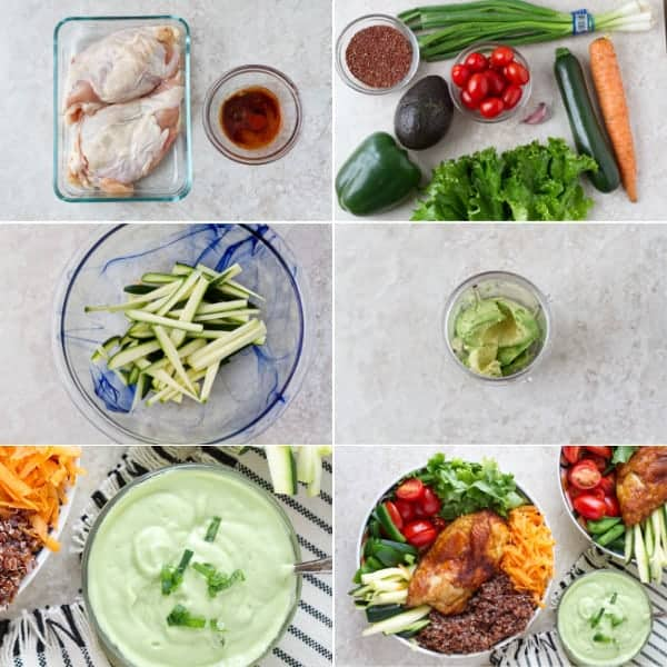 Step by step how to make vegetable buddha bowl with chicken, quinoa and dairy free avocado dressing by ilonaspassion.com I @ilonaspassion