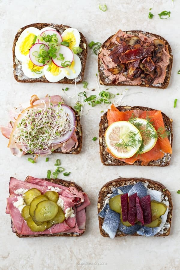 6 types of smorrebrod with liver pate, salmon, meat, herring and egg by ilonaspassion.com I @ilonaspassion