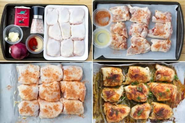Step by step how to make oven baked chicken thighs topped with red onion slices by ilonaspassion.com I @ilonaspassion