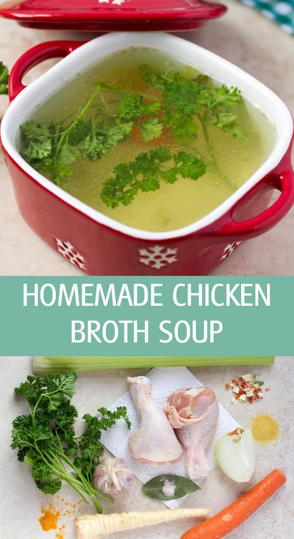 Homemade chicken broth soup made with fresh veggies, herbs and spices.