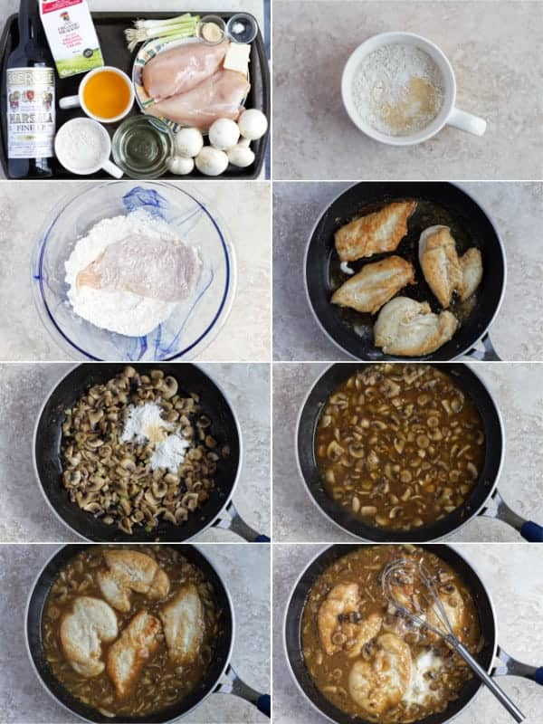 Step by step how to make chicken marsala with mushrooms in a sauce.