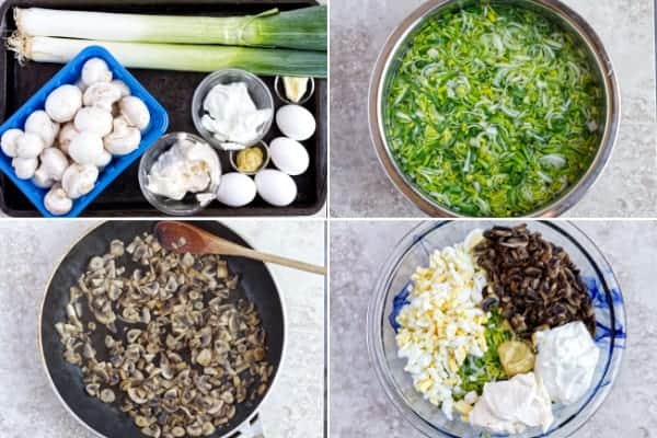 Step by step how to make leek salad with raw veggie and saute mushrooms.