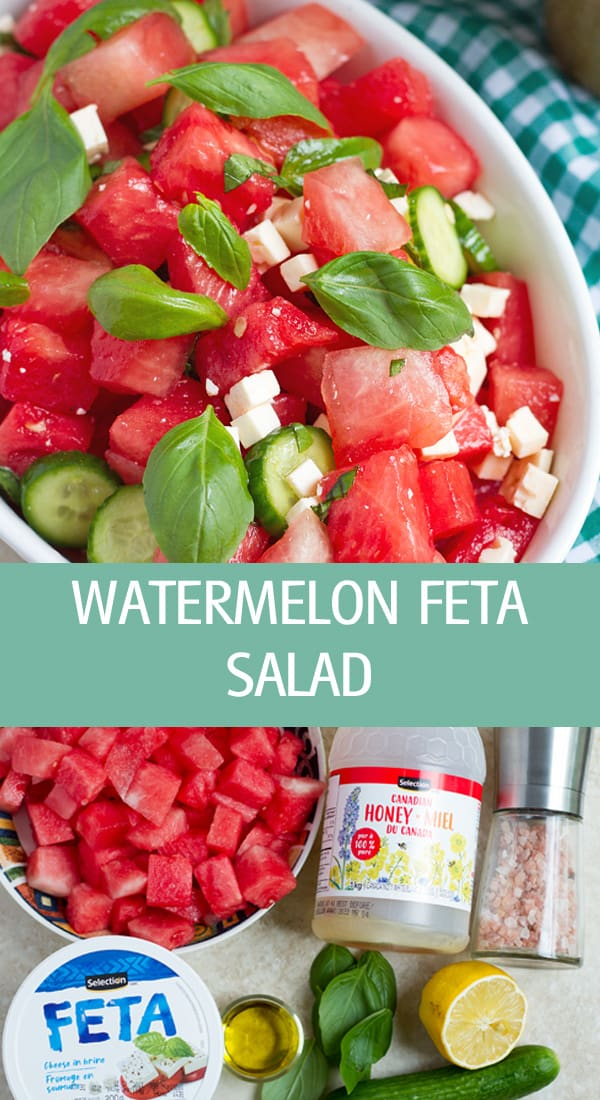 Watermelon feta salad with herbs.