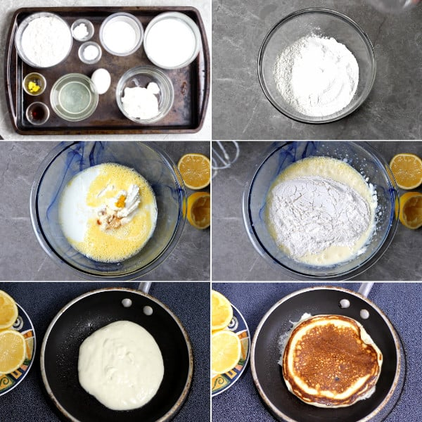 lemon, ricotta, flour to make pancake.