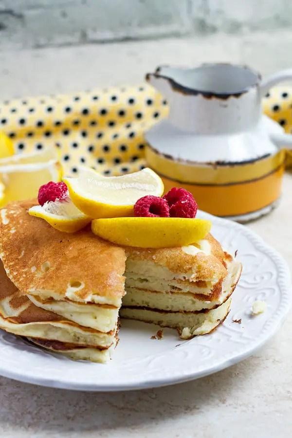 Lemon ricotta pancakes cut through.