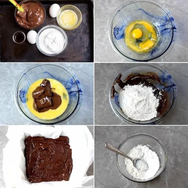 Nutella, butter, flour.