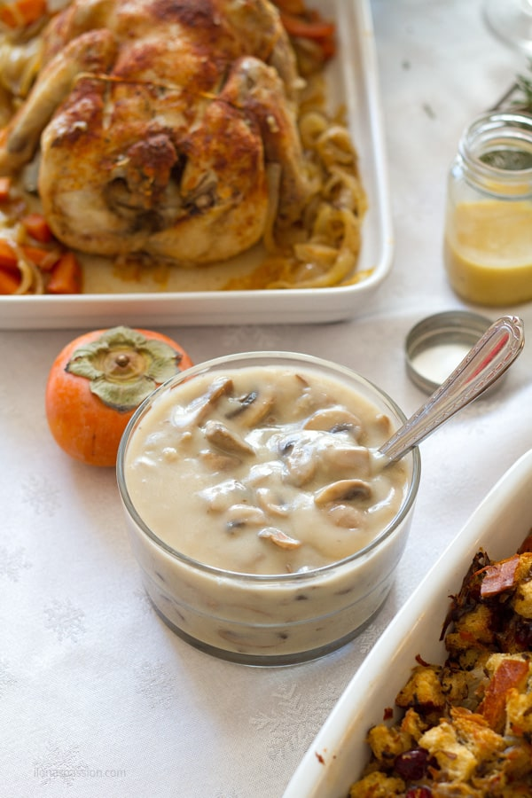Mushroom sauce and chicken.