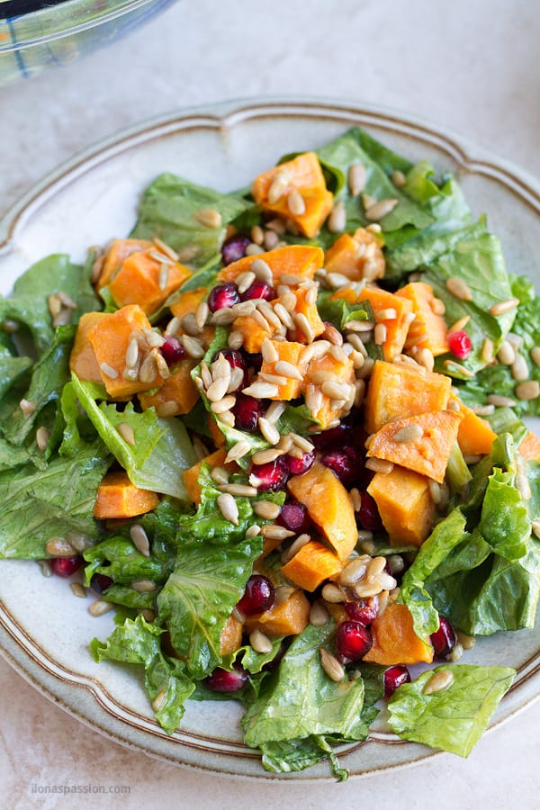 Sweet potato and lettuce salad.