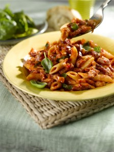 Penne-with-Spicy-Tomato-Sauce-and-Sizzling-Bacon