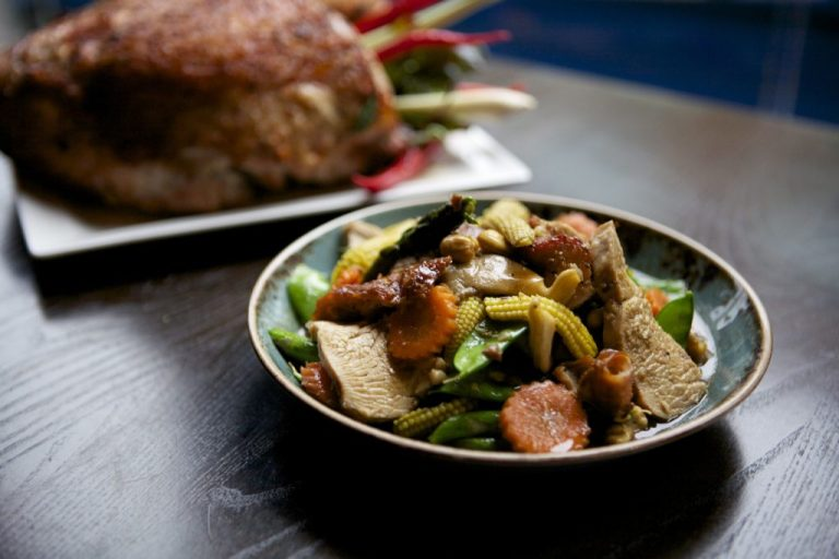 Vietnamese Xao Hao Lo Stir-fried roasted Christmas turkey with cashew nuts and asparagus