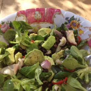 Detox recept voor een detox salade: Lentesalade met zwarte bonen en avocado,, ideaal als lunch of hoofdmaaltijd.