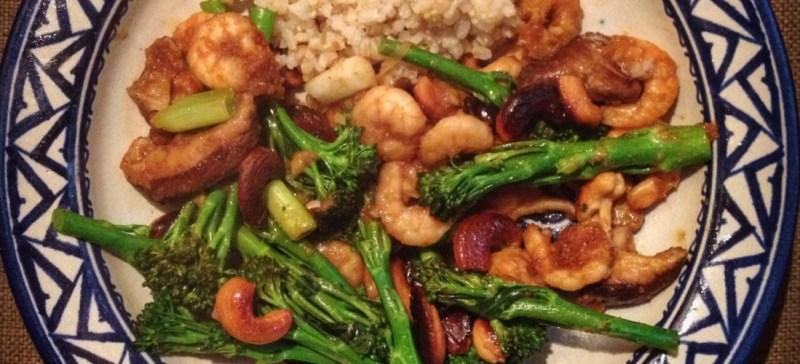 Detox recept voor avondmaaltijd: Rijst met garnalen met bimi en shiitake. Voedzaam, makkelijk en erg lekker!