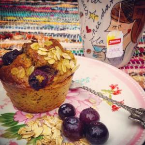 5 detox ontbijt tips! I Love Detox recept. kurkuma ontbijtmuffins met blauwe bessen