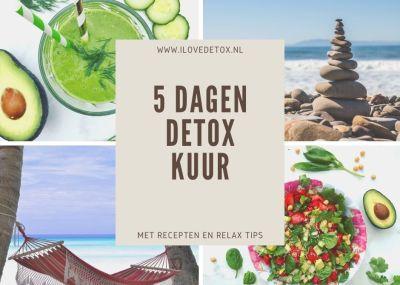 Gratis detox kuur schema voor 5 dagen. Simpel en makkelijk programma. Met recepten, afval tips en ontspanningstips.