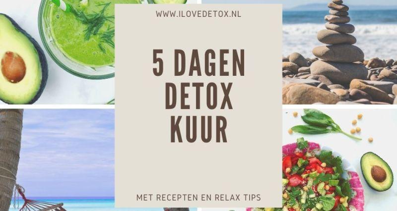 Gratis detox kuur schema voor 5 dagen. Simpel, makkelijk programma. Met recepten, afval tips en ontspanningsoefeningen.