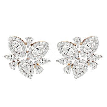 Paradisiac Passions Solitaire Earrings In White Gold For Women (Halo) v2