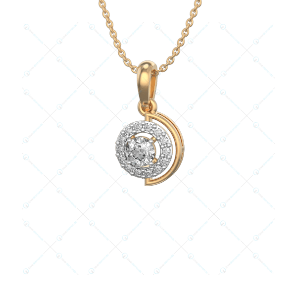0.25 ct Adorable Circlets Solitaire Pendant in Yellow Gold for Women (Halo) v1
