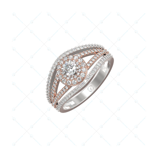 0.20 Ct Lustrous Dazzles Solitaire Engagement Ring In Two-Tone For Women v1