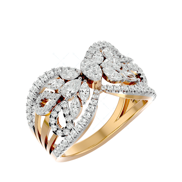 Beautiful Butterfly Diamond Ring In Pink Gold For Women v1