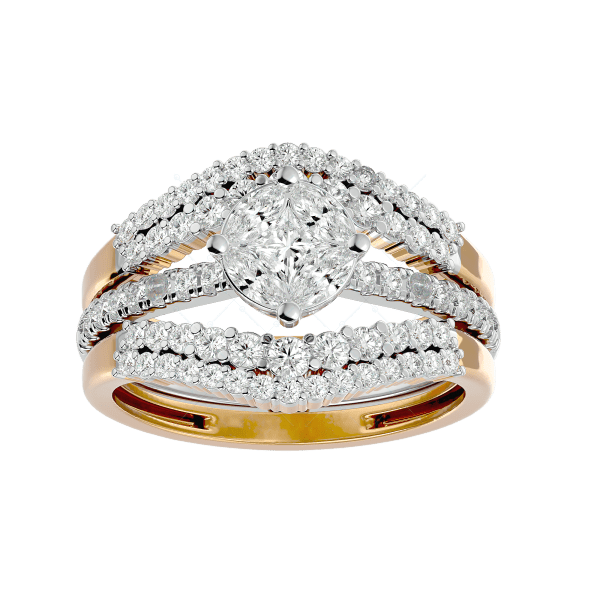 Ultra Stylish Solitaire Illusion Diamond Ring in Yellow Gold for Women v2