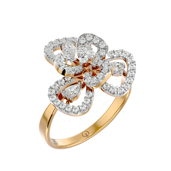 Knots Of Charm Diamond Ring In Yellow Gold For Women v1