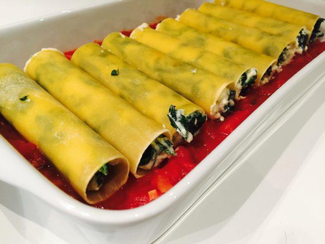 Italienske cannelloni med spinat og ricotta
