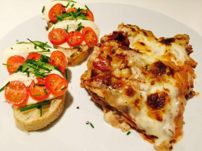 Lasagne med bruschetta