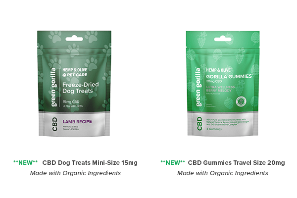 Green Gorilla Single Serving Size CBD Dog Treats and Gorilla Gummies CBD Chewables on Display at Natural Products Expo East