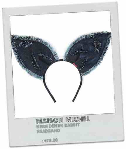 MAISON MICHEL Heidi denim rabbit headband