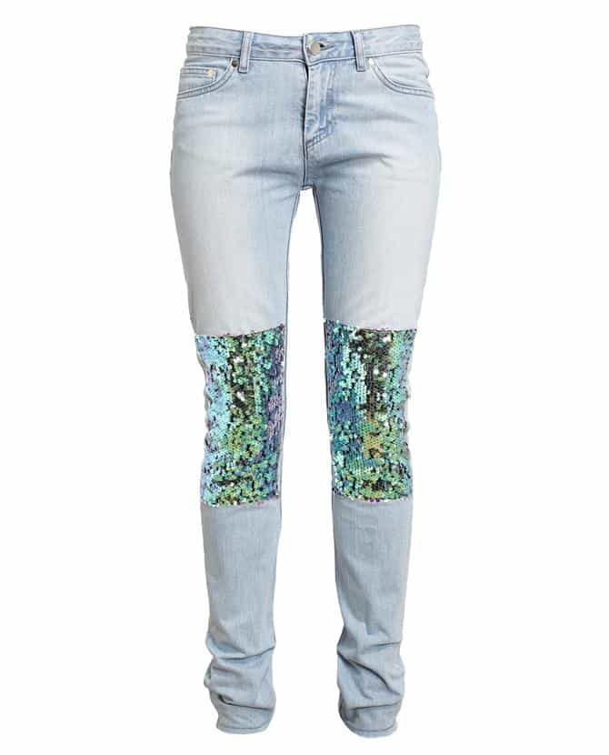 FILLES A PAPA Sequin Embellished Stone Washed Denim Jeans £205